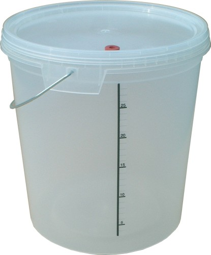 Fermenting Bucket & Lid (unbranded - 33L with tap & airlock fitted